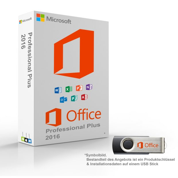 MS Microsoft Office 2016 Professional PLUS 1PC Original mit USB Stick