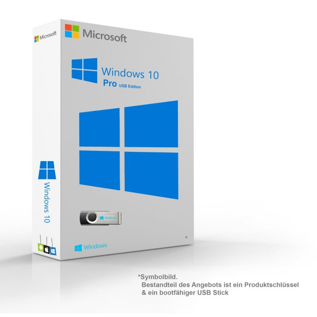 Microsoft Windows 10 Pro Russisch Original 64-Bit  Key & Installationsdaten auf 8GB USB